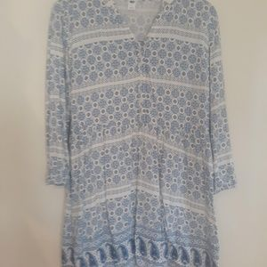 Women's M- Old Navy White/Blue Paisley Boho Dress